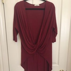 Crimson high low twisted top